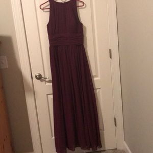 Garnet long bridesmaid dress